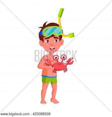 Funny Little Boy Catching Crab In Ocean Cartoon Vector. Funny Little Boy Catching Crab In Ocean Char