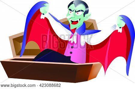 Dracula Waking Up In Coffin. Halloween Cartoon Character Flat Vector Illustration. Halloween Party C