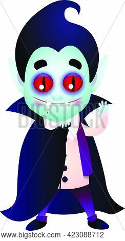 Dracula With Bloody Fang Waving Hand And Covering Body With Cape. Smiling, Waving Hand, Cartoon. Hal