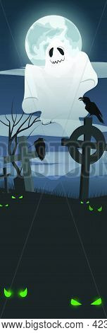 Ghost Flying Over Graveyard Vector Illustration. Cross Monuments And Green Eyes In Darkness. Full Mo