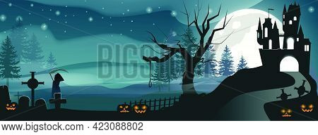 Road In Front Of Illuminated Castle Vector Illustration. Carved Pumpkins, Cross Monuments And Grim R