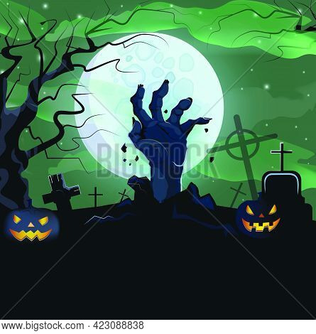 Hand Of Dead Man From Ground Of Graveyard Vector Illustration. Angry Illuminated Carved Pumpkin, Nec