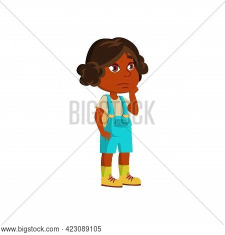 Little Girl Thinking And Choosing Gift For Mother Cartoon Vector. Little Girl Thinking And Choosing