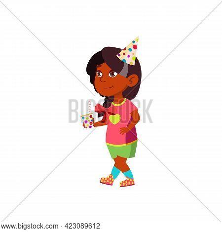 Attractive Indian Girl Celebrate Birthday Cartoon Vector. Attractive Indian Girl Celebrate Birthday
