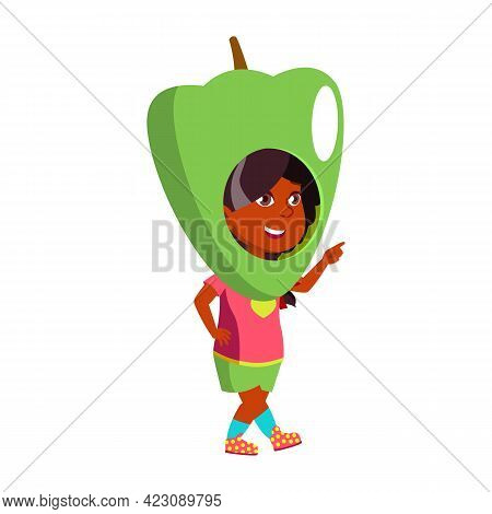 Funny Small Girl On Thematical Party Wearing Pepper Costume Cartoon Vector. Funny Small Girl On Them