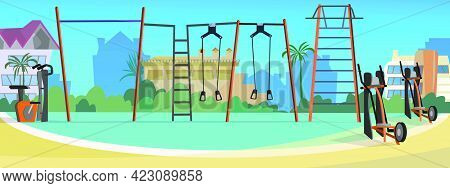 Athletic Field With Street Fitness Equipment Vector Illustration. Modern City Court With Workout Equ