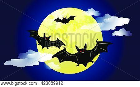 Bats Flying Against Moonlight At Night Vector Illustration. Halloween Background. For Websites, Wall