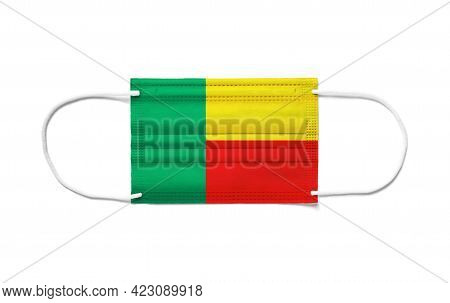 Flag Of Benin On A Disposable Surgical Mask. White Background Isolated