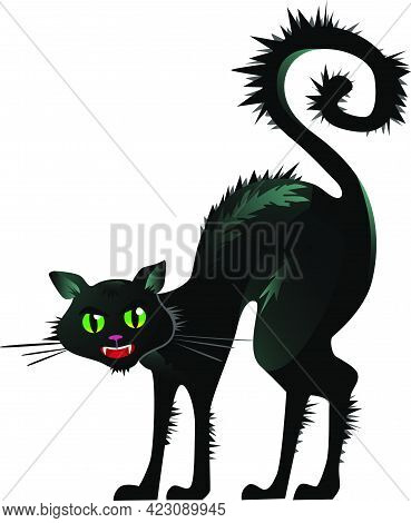 Black Cat Arching Back Vector Illustration. Pet, Terror, Fear. Halloween Concept. Vector Illustratio
