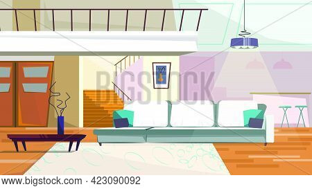 Comfortable Living Room With Furniture Vector Illustration. Modern Sofa, Coffee Table With Vase, Han