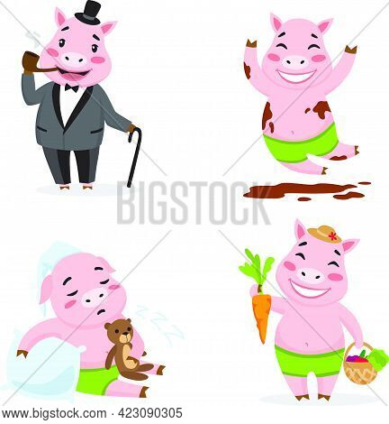 Cute Pig Enjoying Different Actions. Cartoon Character Set. Smoking Pipe, Rolling In Mud, Sleeping,