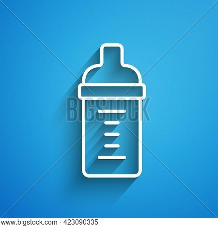 White Line Baby Milk In A Bottle Icon Isolated On Blue Background. Feeding Bottle Icon. Long Shadow.