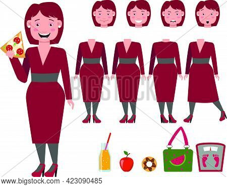 Fat Lady In Dress Eating Pizza Character Set With Different Poses, Emotions, Gestures. Part Of Body,