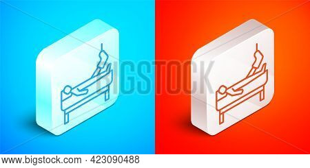 Isometric Line Patient With Broken Leg Is In The Hospital Icon Isolated On Blue And Red Background.