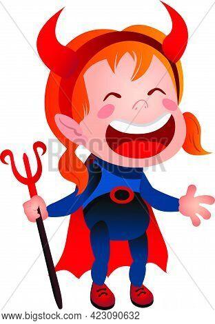 Girl In Devil Costume Laughing Line Icon. Kid, Demon, Satan. Halloween Concept. Vector Illustration