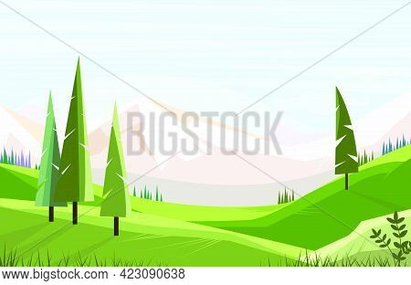 Green Fields With Tall Trees Vector Illustration. Mountain Range In Background. Nature Illustration