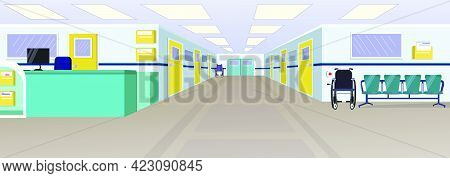 Hospital Hall With Reception, Doors In Corridor And Chairs Vector Illustration. Clinic Interior. Hos