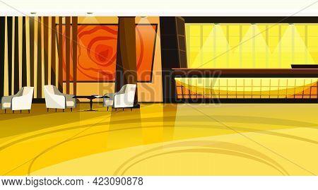 Hotel Lobby Vector Illustration. Office, Reception, Hallway, Counter, Armchair. Interior Concept. Ca