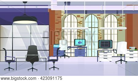 Loft Interior With Brick Wall And Windows Vector Illustration. Modern Computers On Tables And Confer