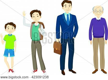 Male Of Various Age Character Set With Different Gestures, Poses, Actions. Kid, Schoolboy, Adult Man