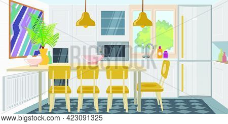 Modern Cozy Kitchen Combined With Dining Room. Comfortable Kitchen Room Equipped With Appliances. Ap