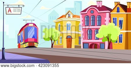 Modern Tram Running On Rails In City Vector Illustration. Tram Station Against Colorful Building. Ci