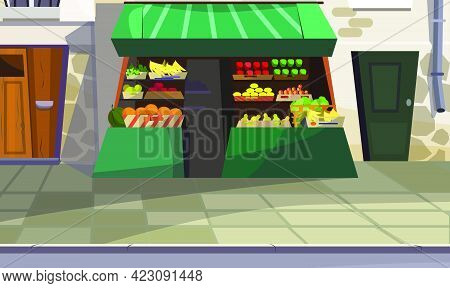 Outdoor Fruit Counter On Street Vector Illustration. Green Store Counter With Various Fresh Fruits O