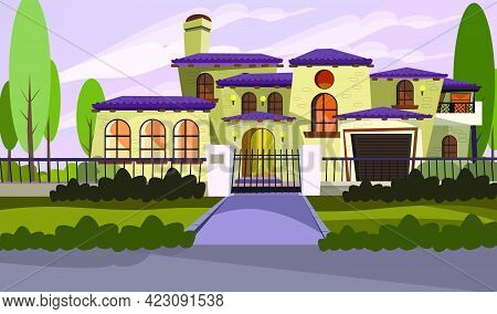 Resident House Vector Illustration. Apartment, Mansion, Retro Style, Exterior. Building Concept. Can