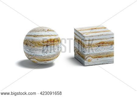 Blank Jupiter Surface Ball And Cube Mockup, Isolated, 3d Rendering. Empty Cuboid And Globule Abstrac