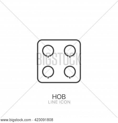 Hob Outline Simple Vector Icon. Editable Stroke