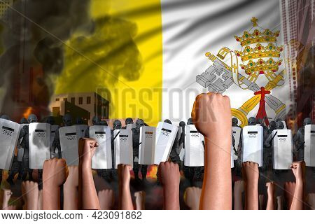 Disorder Fighting Concept - Protest In Holy See On Flag Background, Police Special Forces Stand Agai