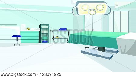 Surgery Room With Operating Table With Vector Illustration. Modern Operating Room With Lamp And Coun