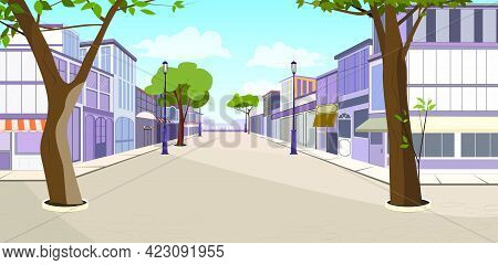 Town Street With Buildings, Trees And Empty Pavement Vector Illustration. Summer Day And Blue Sky. S