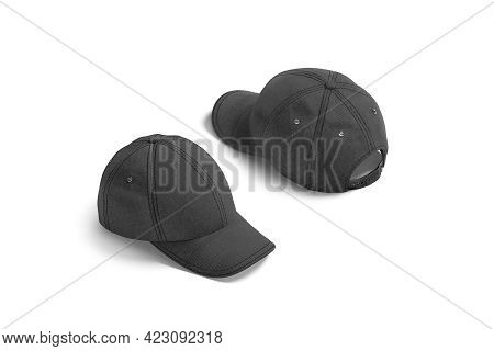 Blank Black Baseball Cap Mock Up, Side And Back View, 3d Rendering. Empty Brim Headwear With Button