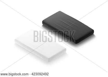 Blank Black And White Rectangle Crib Sheet Mockup, Side View, 3d Rendering. Empty Bedroom Furniture