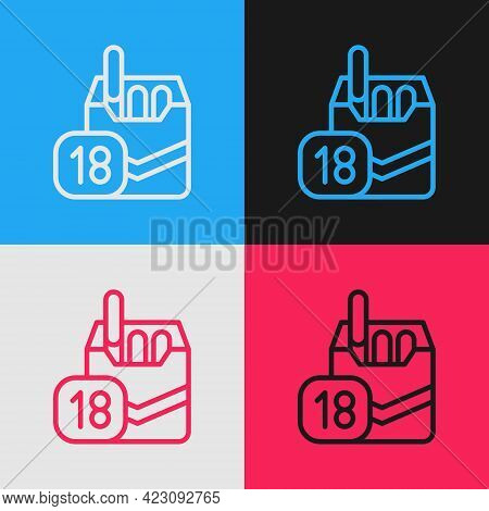 Pop Art Line Cigarettes Pack Box Icon Isolated On Color Background. Age Limit For Cigarettes. Cigare