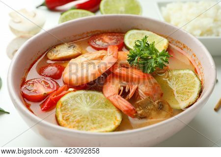 Plate Of Tasty Tom Yum Soup, Close Up