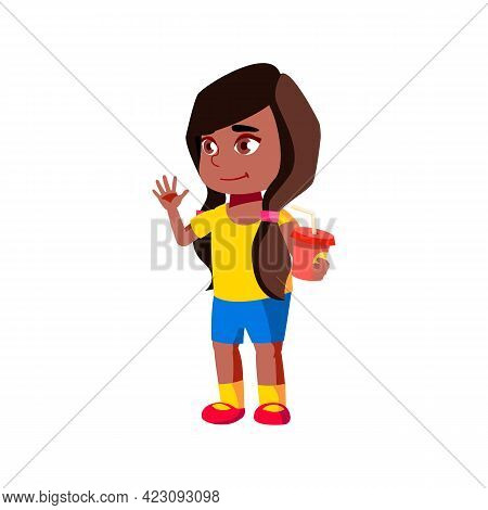 Funny Girl With Soda Cup Glad To See Friend In Zoo Cartoon Vector. Funny Girl With Soda Cup Glad To