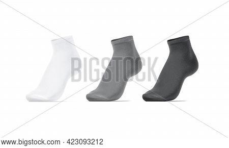 Blank White, Grey, Black Ancle Socks On Tiptoe Mockup, Isolated, 3d Rendering. Empty Elastic Footwea