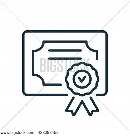 Diploma Line Icon. Certificate With License Badge Linear Icon In Flat Style. Winner Medal Outline Pi
