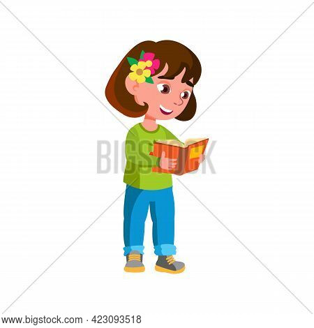 Funny Little Girl Reading Book In Bookstore Cartoon Vector. Funny Little Girl Reading Book In Bookst