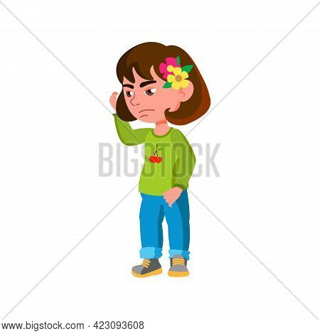 Thoughtful Little Girl Choosing Toy In Children Room Cartoon Vector. Thoughtful Little Girl Choosing