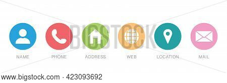 Business Card Contact Information Icon. Communication Symbol In Flat Style. Set Of Contact Icons In