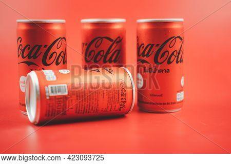 Bangkok, Thailand - June 9, 2021 : Mini Can Of New Coca-cola