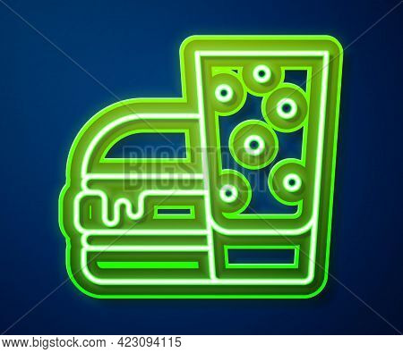 Glowing Neon Line Burger Icon Isolated On Blue Background. Hamburger Icon. Cheeseburger Sandwich Sig
