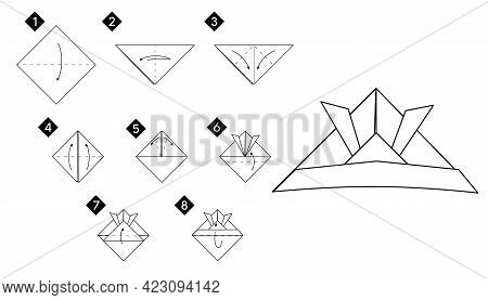 How To Make Origami Origami Samurai Helmet. Step By Step Instructions Diy From Paper Vector Monochro