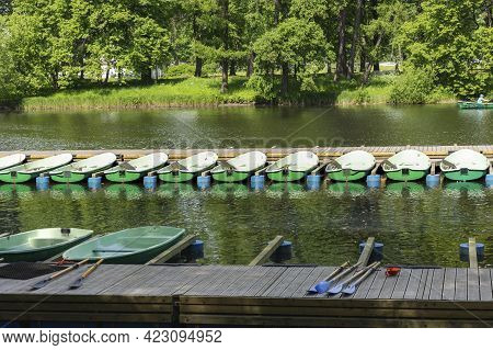 Rental Rowing Boats In The Park, Rowing Boats On The River, Wooden Pier With Boats, Swim On The Wate