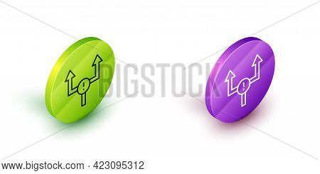 Isometric Line Arrow Icon Isolated On White Background. Direction Arrowhead Symbol. Navigation Point