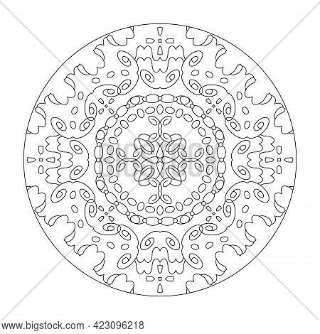 Mandala Coloring Page. Art Therapy. Anti-stress. Vector Illustration Black And White.