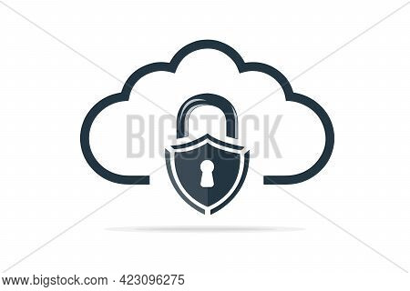 Cloud Computing Icon With Security Shield, Cloud Computing Concept, Cloud Computing Technology Inter
